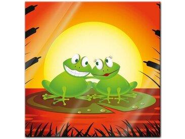 Bilderdepot24 Glasbild, Glasbild - Kinderbild Verliebter Frosch Cartoon