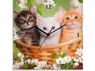Artland Wanduhr »Katzen sitzen in einem Korb«, Quarzuhr
