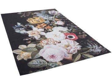 Pergamon Designteppich »Luxus Designerteppich Flores Blumen Anthrazit Bunt«, Rechteckig, Höhe 5 mm