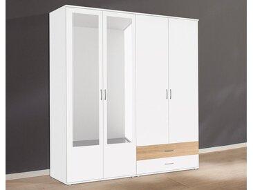 rauch BLUE Kleiderschrank »Noosa« mit Spiegel und Schubkästen, weiß, Türen: 4, weiß/struktureichefarben hell