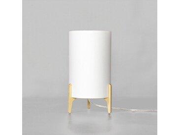 Licht-Erlebnisse Tischleuchte »ALICE Nachttischlampe Weiß Stoff Zylinder modern vielweitig Schlafzimmer Lampe«