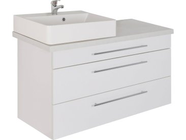 MARLIN Waschtisch »Laos 3110«, Breite 120 cm, Becken links, weiß, Aufsatzbecken »INGA«, Mineralmarmor
