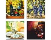 Artland Leinwandbild »Gläser Rotwein, Trauben, Käse«, Getränke (4 Stück), rot