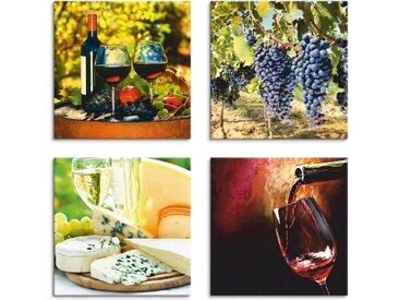 Artland Leinwandbild »Gläser Rotwein, Trauben, Käse«, Getränke (4 Stück)