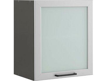 wiho Küchen Glashängeschrank »Esbo« mit alufarbener Glasrahmentür, natur, Zen Esche/Anthrazit