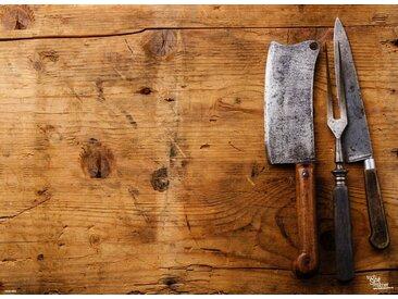Tischsetmacher Platzset, »Tischsets I Platzsets - Grillen - Holzbrett mit Messern und Fleischgabel - 12 Stück aus hochwertigem Papier 44 x 32 cm«