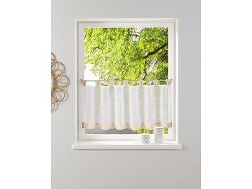 my home Scheibengardine »Bitola«, Schlaufen (1 Stück), Fertiggardine, transparent, weiß, weiß-sand