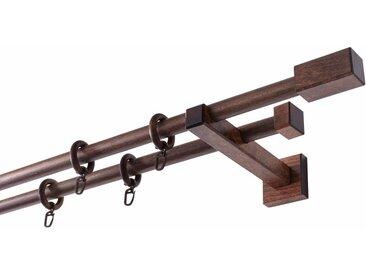 GARESA Gardinenstange »Cubus Quader«, Ø 20 mm, 2-läufig, Wunschmaßlänge, braun, 2 läufig, nussbaum