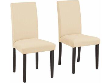 Home affaire 4-Fußstuhl »Roko« im 2er, 4er oder 6er-Set, weiß, 2 St. - Beine dunkelbraun, beige - dunkelbraun
