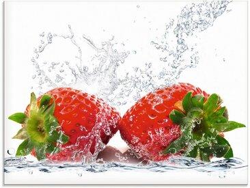 Artland Glasbild »Erdbeeren mit Spritzwasser«, Lebensmittel (1 Stück), 1 St.