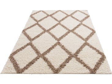 my home Hochflor-Teppich »Linz«, rechteckig, Höhe 31 mm, dichter Flor, weiß, weiß-beige