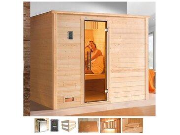 weka WEKA Sauna »Bergen«, 248x198x204 cm, 7,5 kW Bio-Ofen mit ext. Steuerung, natur, 7,5 kW Bio-Kombiofen mit externer Steuerung, natur
