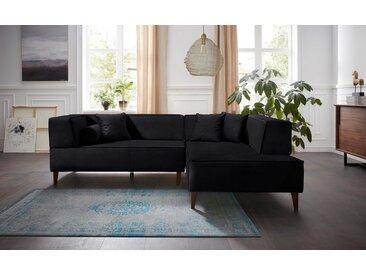 Alte Gerberei 3-Sitzer »Marten«, mit breiten Lehnen, inklusive Zierkissen & Kissenrollen, schwarz, black