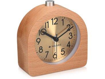 Navaris Reisewecker Analog Holz Wecker mit Snooze - Retro Uhr Halbrund mit Ziffernblatt Gold Alarm Licht - Leise Tischuhr ohne Ticken - Naturholz