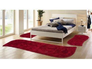 my home Hochflor-Bettumrandung »Desner« , höhe 38 mm, (3-tlg), besonders weich durch Microfaser, rot, rot