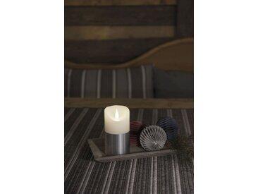 KONSTSMIDE LED Echtwachskerze mit 3D Flamme, weiß, Höhe 13,5cm, Lichtquelle warm-weiß, Silber