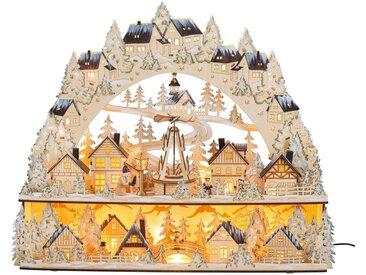 HGD Holz-Glas-Design XL-Lichterbogen Weihnachtsmarkt mit beweglicher Pyramide, natur, Natur