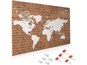 Navaris Pinnwand, Kork Weltkarte Tafel - 60x40cm Pin Board Korkwand mit Stecknadeln Fahnen Montageset - Memoboard Korktafel