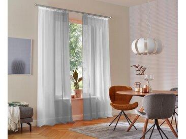 my home Gardine »Valverde«, Kräuselband (2 Stück), Vorhang, Fertiggardine, transparent, grau, grau