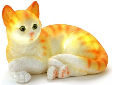 JOKA international Dekoobjekt »liegendes Kätzchen Rot Weiß«, Solarleuchte liegende Katze Orange Weiß