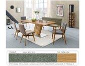 expendio Essgruppe »Caesar 1«, (Spar-Set, 6-tlg), Massivholztisch Eiche rustikal 180x90 cm + 1x Bank + 2x Stuhl + 2x Armlehnstuhl Aranel Nexus grün