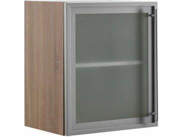OPTIFIT Glashängeschrank mit Glasrahmentür in Alu-Optik, Breite 50 cm, grau, alu/akaziefarben