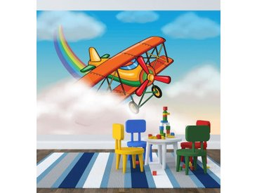 Bilderdepot24 Deco-Panel, selbstklebende Fototapete - Kinderbild - Flugzeug Cartoon, bunt, Farbig
