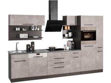 HELD MÖBEL Küchenzeile »Tulsa«, ohne E-Geräte, Breite 320 cm, grau, betonfarben