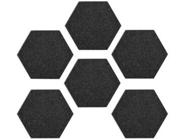 Navaris Pinnwand, Filz Memoboards Set sechseckig - 6x Filzboard 15x17x1,5cm mit Stecknadeln und Klebeband - für Küche und Büro, schwarz, schwarz