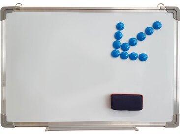 Wellgro Memoboard »Whiteboard 40 x 60 cm - inkl. Trockenschwamm & 12 Magnete, mit Stiftablage und Alu-Rahmen«