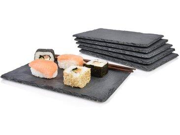 SÄNGER Platzset, »Schieferplatten Set Sushi«, (6-St., Schieferplatten Set 6 teilig 22x16 cm)
