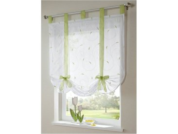 i@home Bändchenrollo »Bestickt Raffrollo Gardinen Vorhang Fenstergardinen Scheibengardinen«, mit Schlaufen, mit Stickerei, grün, Grün