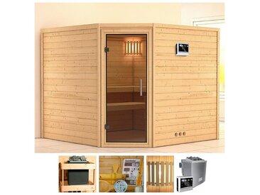 KONIFERA Sauna »Veeti«, 231x231x198 cm, 9 kW Bio-Ofen mit ext. Strg, Glastür graphit, natur, 9 kW Bio-Kombiofen mit externer Steuerung, natur