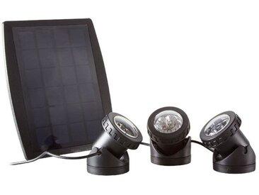 LogiLink Teichleuchte, solarbetrieben, LED Licht Regenbogenfarben, RGB, 3 Leuchten, wasserdicht, staubdicht