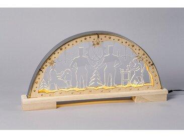 HGD Holz-Glas-Design Lichterbogen Bergleute mit Edelstahlrahmen, natur, Natur
