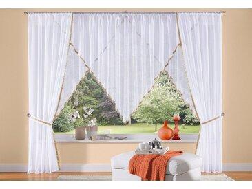 my home Gardine »Volano«, Kräuselband (2 Stück), Vorhang, Fertiggardine, transparent, natur, sand
