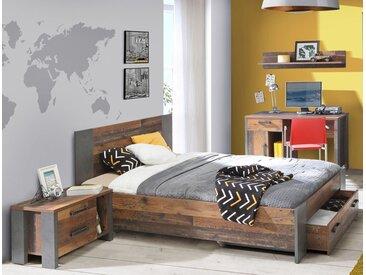 expendio Jugendzimmer-Set »Cedric«, (Spar-Set, 4-tlg), Old Wood Vintage 140x200 cm mit Bettschubkasten