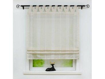 Delien Raffrollo »Thea«, mit Schlaufen, halbtransparentes Unifarbiges Bändchenrollo mit Längsstreifen Schals mit V Schlaufen Fenster Vorhänge, braun