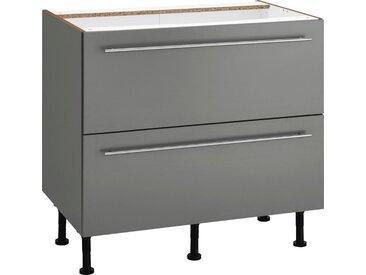 OPTIFIT Unterschrank »Bern« 90 cm breit, mit 2 großen Auszügen für viel Stauraum, mit höhenverstellbaren Füßen, mit Metallgriffen, grau