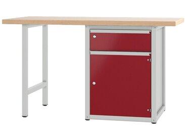 PADOR Werkbank »700.0.41 S 2/15 R«, Höhe: 85,5 cm, rot, hellgrau/dunkelrot