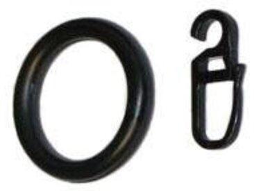 GARESA Gardinenring, Gardinen, (Set, 20-St., mit Faltenlegehaken), innen Ø 28 mm, außen Ø 38 mm, schwarz, schwarz