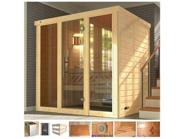 weka WEKA Sauna »Kemi Panor«, 211x169x200 cm, 7,5 kW Bio-Ofen mit ext. Steuerung, natur, 7,5 kW Bio-Kombiofen mit externer Steuerung, natur