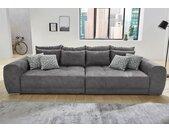 Jockenhöfer Gruppe Big-Sofa, inklusive loser Rücken- und Zierkissen, frei im Raum stellbar, grau, dunkelgrau