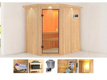 KONIFERA Sauna »Sylta«, 210x165x202 cm, 9 kW Ofen mit ext. Steuerung, mit Dachkranz, natur, 9 kW mit externer Steuerung, natur