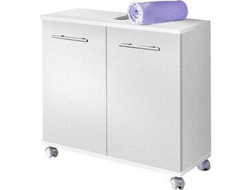Schildmeyer Waschbeckenunterschrank »Rhodos« Breite 60 cm, verstellbarer Einlegeboden, Metallgriffe, 2 Türen, weiß, weiß-weiß