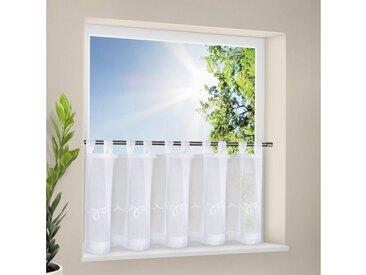 Gerster Gardine »AYA Scheibengardine mit feinem Stickdesign Schlaufen transparent 150/50cm Weiß«