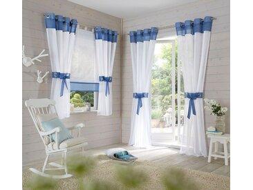 my home Gardine »Villars«, Ösen (2 Stück), inkl. 2 Raffhalter, blau, blau