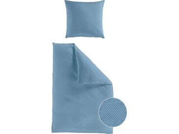 BIERBAUM Bettwäsche »Senci«, mit Muster, blau, 1 St. x 135 cm x 200 cm, Mako-Satin, jeansblau