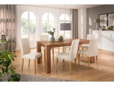 Home affaire Essgruppe »Livara«, (Set, 7-tlg), bestehend aus 6 Lucca Stühlen und dem Mary Esstisch, natur, Cremefarbener Stuhlbezug