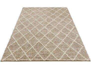 My HOME Wollteppich »Lior«, rechteckig, Höhe 10 mm, top Qualität, Rauten Design, braun, braun